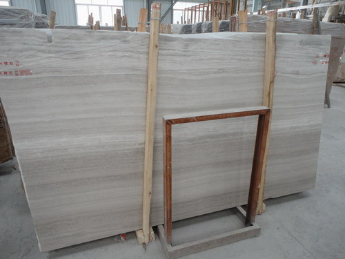 Wooden White Marble Slab and Quarry