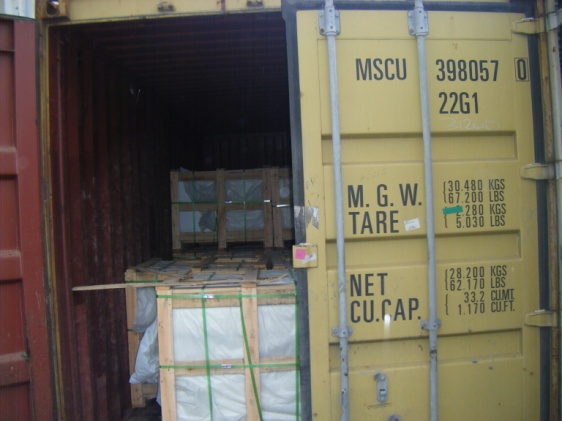 wooden crate load in container